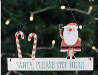 SHABBY CHIC 'SANTA STOP HERE' HANGING WOODEN SIGN